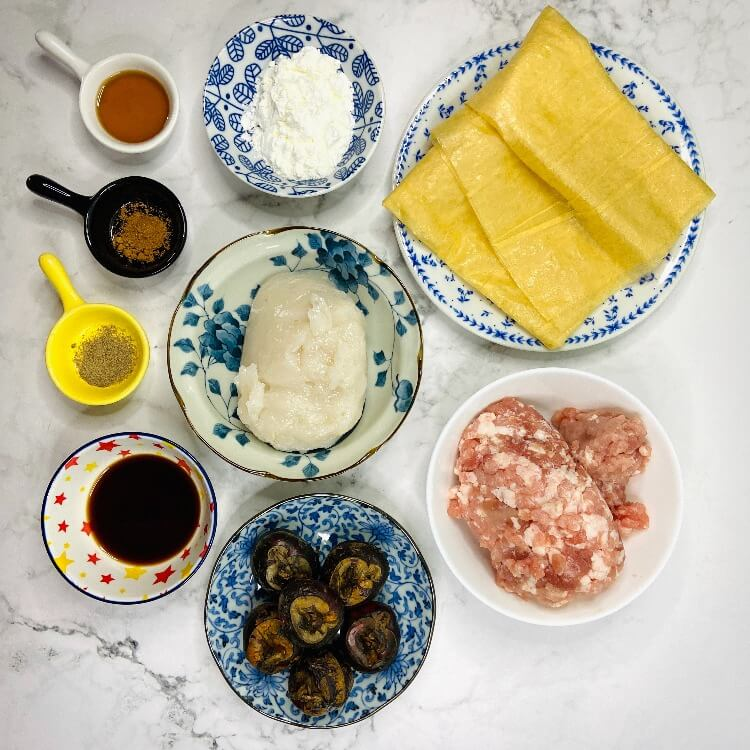 Ingredients for ngoh hiang